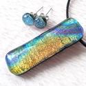 Arany-kék szivárvány ékszerszett, ajándék névnapra, születésnapra., Ékszer, óra, Ruha, divat, cipő, Medál, Ékszerszett, Ékszerkészítés, Üvegművészet, Fusing technikával készült, csúcsminőségű  szivárványos arany-kék színű dichroic   üvegből olvaszto..., Meska