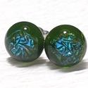Smaragd-kék ragyogás üveg fülbevaló, ajándék  névnapra, születésnapra.