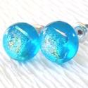 Kék gyémánt, üveg fülbevaló  , ajándék  névnapra, születésnapra., Ékszer, óra, Baba-mama-gyerek, Ruha, divat, cipő, Fülbevaló, Fusing technikával készült csillogó dichroic  és  kék színű üvegből  olvasztottam.   A fé..., Meska