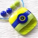 Trendi muránói ékszerszett , ajándék karácsonyra, névnapra, születésnapra., Ékszer, Ékszerszett, Fülbevaló, Üvegművészet, Ékszerkészítés, Olvasztásos technikával készült üvegmedál és stiftes fülbevalók. Kék, zöld és sárga színű muránói  ..., Meska