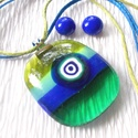 Muránói kék-zöld  ékszerszett , ajándék pedagógusnapra, névnapra, születésnapra., Ékszer, Nyaklánc, Fülbevaló, Ékszerszett, Üvegművészet, Ékszerkészítés, Fusing technikával készült üvegmedál és stiftes fülbevaló. Kék zöld muránói  üvegből olvasztottam, ..., Meska