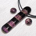 Fekete-mályva csíkos  dichroic ékszerszett, ajándék névnapra, születésnapra.
