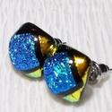 Kék-arany fényjáték, dichroic  fülbevaló, ajándék névnapra, születésnapra.