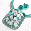 Türkiz tenger kincsei, üvegékszer szett, ajándék névnapra, születésnapra.