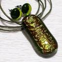 Zöld kávé ékszerszett, karácsonyra, névnapra, születésnapra., Ékszer, Ékszerszett, Fülbevaló, Fusing technikával készült üvegmedál és fülbevaló. Csúcsminőségű zöld áttetsző üvegből olvasztottam,..., Meska