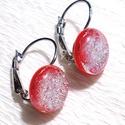 Piros -kristályos ezüst fénnyel üveg fülbevaló, ajándék  névnapra, születésnapra., Ékszer, Fülbevaló, Nyaklánc, Fusing technikával készült csillogó dichroic  és  piros színű ékszerüvegből  olvasztottam...., Meska