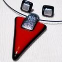 Piros-fekete  trendi ékszerszett, ajándék névnapra, születésnapra., Ékszer, Nyaklánc, Ékszerszett, Fülbevaló, Olvasztásos technikával készült trendi medál és fülbevaló. Csúcsminőségű piros és feket..., Meska