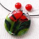 Piros virágos üvegékszer, ajándék nőknek névnapra, születésnapra., Ékszer, Ruha, divat, cipő, Ékszerszett, Fülbevaló, Fusing technikával készült, üvegmedál és  fülbevaló. Áttetsző, piros és zöld színű üvegből olvasztot..., Meska