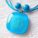 Kék hortenzia nyaklánc  és fülbevaló, ajándék lányoknak, ballagásra, névnapra, születésnapra., Ékszer, Ékszerszett, Nyaklánc, Fülbevaló, Fusing technikával készült üvegmedál és fülbevaló. Kék minőségi ékszerüvegből olvasztottam, középen ..., Meska