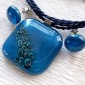 Gyöngy buborékos ékszerszett, névnapra, születésnapra, nőnapra., Ékszer, Ékszerszett, Fülbevaló, Medál, Fusing technikával készült ékszerszett. Különleges eljárással készült, minőségi  kék ékszerüvegből, ..., Meska