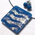 Csillogó kék hullámok  üvegékszer szett, ajándék nőknek névnapra, születésnapra., Ékszer, Ékszerszett, Nyaklánc, Fülbevaló, Fusing technikával készült üvegékszer. Bizánci kék és arany hullám mintás dichroic üvegből olvasztot..., Meska