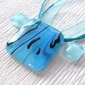 Kék dichroic nyaklánc  és fülbevaló, ajándék lányoknak, ballagásra, névnapra, születésnapra., Ékszer, Ékszerszett, Nyaklánc, Fülbevaló, Fusing technikával készült üvegmedál és fülbevaló. Kék minőségi ékszerüvegből olvasztottam, mintás  ..., Meska