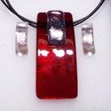 Ezüstös rubin ékszerszett, ajándék  ballagásra, névnapra, születésnapra., Ékszer, Fülbevaló, Medál, Ékszerszett, Ékszerkészítés, Üvegművészet, Fusing technikával készült  csúcsminőségű rubin piros irizáló üvegből  olvasztottam, ezüst dichroic..., Meska