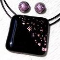 Pink csillaghullás , medál és fülbevaló, ajándék nőknek névnapra, születésnapra., Ékszer, Ékszerszett, Medál, Fülbevaló, Ékszerkészítés, Üvegművészet, Olvasztásos technikával készült rendkívül elegáns medál és fülbevaló. Csúcsminőségű pink-arany csil..., Meska