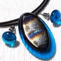 Kék szilva ékszerszett , ajándék névnapra születésnapra., Ékszer, Gyűrű, Fülbevaló, Ékszerszett, Ékszerkészítés, Üvegművészet, Fusing technikával készült ovális medál és stiftes fülbevaló. Áttetsző kék és bronzos kék-bordó min..., Meska