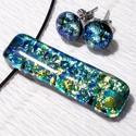 Kék-türkiz ékszerszett, szalagavató bálra, névnapra, születésnapra., Ékszer, Ékszerszett, Nyaklánc, Fülbevaló, Ékszerkészítés, Üvegművészet, Fusing technikával készült üvegmedál és fülbevaló. Csúcsminőségű kék-türkiz-arany mintás dichroic é..., Meska