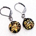 NEMESACÉL! Fekete-arany mozaikos dichroic fülbevaló, ajándék nőknek névnapra, születésnapra. , Csúcsminőségű dichroic ékszerüveg felhaszná...
