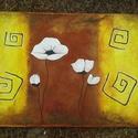 Falikép festmény kép , Képzőművészet, Dekoráció, Festmény, Festmény vegyes technika, Akril festékkel és pasztell krétával készült modern falikép. Meleg, hangulatos színekkel, st..., Meska