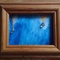 """""""Cseppek"""" keretre tűzve, Képzőművészet, Festmény, Akril, Kb 10x15 cm-es kis vászonkép. A keret hátára rajzszöggel rögzítve., Meska"""