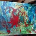 Gyerekvilág, Képzőművészet, Festmény, Feszített vászonra készült nagy méretű akrilfestmény., Meska