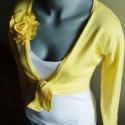 sárga boleró kitűzővel ( M- L-XL méret) , Sárga pamut boleró, virág kitűzővel. Mell ala...