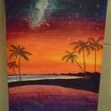 Tengerparti naplemente 20x30, Dekoráció, Otthon, lakberendezés, Kép, Falikép, Festészet, Élénk színvilágú alkotás. A képe tetején lévő csillagok ábrázolása kicsit a long exposure technikár..., Meska