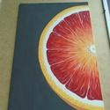 Narancs akrilfestmény 20x30, Otthon, lakberendezés, Dekoráció, Falikép, Kép, Festészet, Ezt a képet egy narancsos internetes forrás ihlette. A sorozat első része.   Akrilfestmény alapozot..., Meska