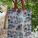 Akciós! Bevásárló táska, Táska, Szatyor, Varrás, KÉSZTERMÉK   100% pamutvászonból készült , béleletlen szatyor, piros pöttyös fülekkel.  30 fokon mo..., Meska