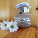 Zsákvászon zsákocska köszönőajándéknak , Esküvő, Meghívó, ültetőkártya, köszönőajándék, Varrás, Zsákvászonból készült apró esküvői zsák. Különleges és egyedi ajándék lehet a vendégek számára apró..., Meska