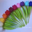 Textil tulipán (kicsi) 12 db, Dekoráció, Csokor, Húsvéti díszek, 23 cm magas textil tulipánok. Piros, narancssárga, citromsárga, vanília, fehér, halvány rózsa..., Meska