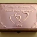 Születésnapi dobozka egyedi felirattal, Otthon, lakberendezés, Tárolóeszköz, Doboz, Egyedi dombornyomott fémlemezzel díszített születésnapi doboz 13 cm × 19 cm × 8 cm méretben.  Tetsző..., Meska