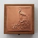 Pávás díszdoboz egyedi alkalomra, Mindenmás, Különleges, nem saját tervezésű mintával készített dobozka. Mérete 15x15x8 cm.  A minta bal oldalán ..., Meska