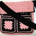 AKCIÓ!!  Nagyméretű horgolt táska, Táska, Válltáska, oldaltáska,   Két szín, fekete és halvány rózsaszínű minőségi fonalból horgolt nagyméretű női tásk..., Meska