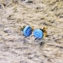 Kék csiga füli, Ékszer, Fülbevaló, Ékszerkészítés, Gyurma, Kék csiga mintázatú bedugós fülbevaló süthető gyurmából. A fülbevaló fém bizsu alapra van ragasztva..., Meska