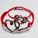 """""""Szerelmes szívek"""" karkötő, Ékszer, óra, Karkötő, Piros zsinórral készített makramé karkötő, dupla-szív medállal és 2 db piros műanyag gyön..., Meska"""