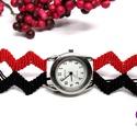 Cikk-cakk karóra - vörös és fekete, Ékszer, óra, Karóra, óra, Vörös és fekete színű szatén zsinórral készített karóra, makramé technikával. Az óra sz..., Meska