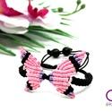 Makramé pillangó karkötő - rózsaszín-lila, Makramé technikával, rózsaszín, lila és feket...