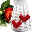 Diamant makramé fülbevaló - piros, Prémium minőségű pamutfonallal készített fü...