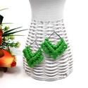 Diamant makramé fülbevaló - zöld, Prémium minőségű pamutfonallal készített fü...