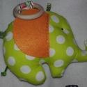 Elefánt rágóka, Baba-mama-gyerek, Játék, Gyerekszoba, Baba játék, Varrás, Elefántjaimat babáknak készítettem. Rágóka és egyben cimkézési lehetőség is van rajta. Szines vászo..., Meska