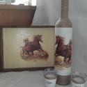 Lovas szett ajándékba ballagásra , születésnapra..., Dekoráció, Mindenmás, Konyhafelszerelés, Ballagás, Ünnepi dekoráció, A szett tartalma: 1 db üveg (boros, vagy pálinkás) + 2,4,6 db pohár is kérhető hozzá. Valamint egy t..., Meska