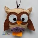 Balu bagoly by Lolita, Játék, Játékfigura, Plüssállat, rongyjáték, Filcből és vattából  készült ez a kis édes bagolyka.  Méretei: 12 cm hosszú és 13 cm szél..., Meska