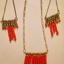 Egyiptom tüze, Ékszer, óra, Fülbevaló, Nyaklánc, Az ékszer szett narancssárgás piros és arany színű gyöngyökből készült. A gyöngyöket sz..., Meska