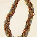 Színes indián nyaklánc, Ékszer, óra, Nyaklánc, A nyakláncot nyolc damilra fűzött gyöngysorból készítettem, T-kapoccsal illesztettem össze. ..., Meska