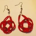 Fagyöngy fülbevaló, Ékszer, Fülbevaló, A fülbevaló két sor damilra fűzött gyöngyből készült. Színei: piros és arany. Hossza 4 cm..., Meska