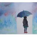 Kislány az esőben akril festmény, Otthon & lakás, Dekoráció, Képzőművészet, Festmény, Akril, A4-es alapozott vászonra (nem feszített) festettem a színes esőben merengő kislányt...  Köszönöm, ho..., Meska