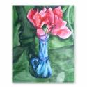 Klasszikus kontraszt akvarell festmény, Képzőművészet, Dekoráció, Festmény, Akvarell, Festészet, A festményem pár szál ciklámen virágot ábrázol egy kontrasztos vázában, zöld drapéria előtt. A csen..., Meska
