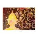 Buddha sziluett akril festmény, Otthon & lakás, Dekoráció, Képzőművészet, Festmény, Akril, 45x39 cm-es alapozott vászonra festettem ezt a képet, amelynek témája egy negatívban festett Buddha ..., Meska