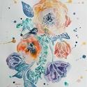 Illatfuvallat akvarell festmény, Otthon & lakás, Képzőművészet, Festmény, Akvarell, Dekoráció, Illatfuvallat (akvarell, 24x32cm)  Virágokból álló kompozíciót festettem akvarell festékkel. Ahogyan..., Meska