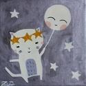 Cica hold lufival festmény - lány gyerekszoba dekoráció, Gyerek & játék, Otthon & lakás, Gyerekszoba, Baba falikép, Dekoráció, 20x20 cm-es akril festményem egy kedves kiscicát ábrázol, aki egy mosolygos lufival (vagy inkább a t..., Meska